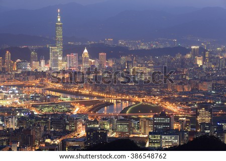 Aerial panorama of Taipei downtown & suburbs at dusk with view of Keelung Riverside Park, MacArthur bridge, Taipei 101 in Xinyi District ~ A romantic night in busy Taipei City in a gloomy blue mood