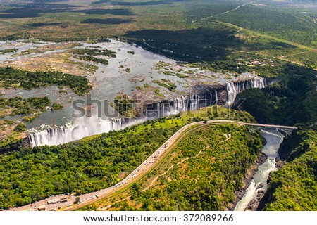 Aerial panorama of the Victoria Falls, Zambia and Zimbabwe. UNESCO World Heritage - stock photo