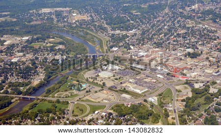 aerial panorama view of downtown Brantford Ontario, Canada - stock photo