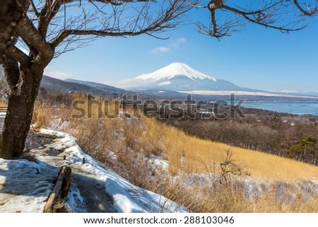 Aerial panorama view point of Mount Fuji at Yamanaka Lake in Winter - stock photo