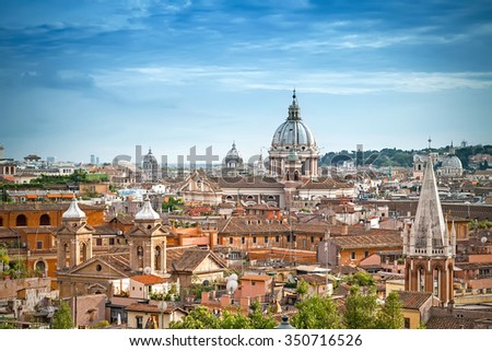 Aerial panoramic cityscape of Rome, Italy - stock photo