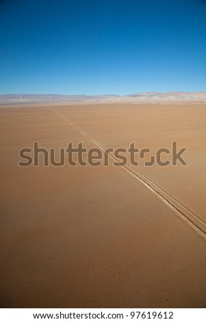 Aerial Panoramic of Chile and a Lone Road - stock photo