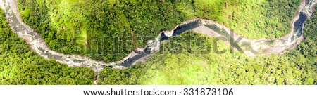 Aerial Panoramic Shot Of Pastaza River In Andes High Altitude Full Size Helicopter Shot - stock photo