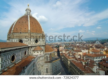 Aerial panoramic view of Duomo in Florence, Italy - stock photo