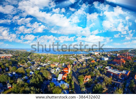 Aerial panoramic view of St Augustine, Florida. - stock photo