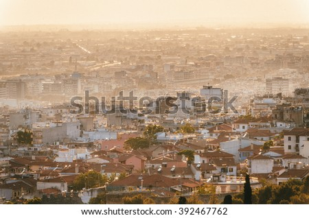 Aerial panoramic view of the Thessaloniki city, Greece - stock photo