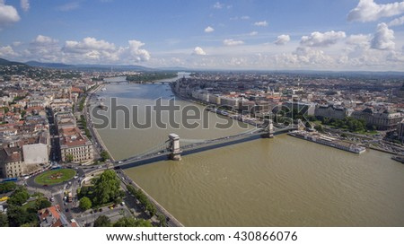 Aerial photo from a drone shows the famous Chainbridge over the Danube in Budapest, Hungary.