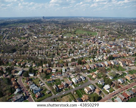 Aerial photo of historic neighborhoods in Pittsburgh Pennsylvania.