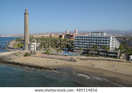 Aerial photo of Maspalomas lighthouse, hotels and beaches in the south of the island of Gran Canaria