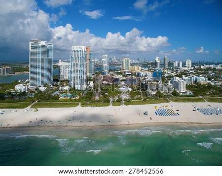 Aerial photo of Miami Beach beachfront architecture. Please visit my video gallery for great aerial videos of Miami Beach.  - stock photo