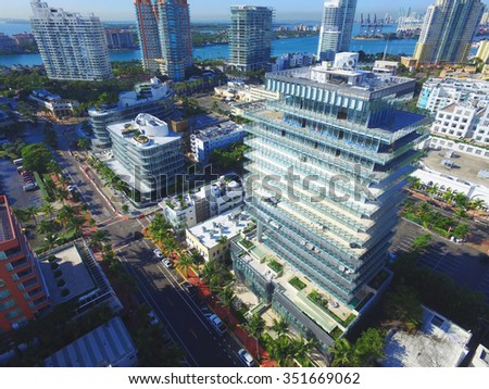 Aerial photo of Miami Beach south of 5th street - stock photo