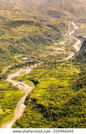 Aerial Photo Of Pastaza River Exiting The Andes Mountains In Tungurahua Province Ecuador - stock photo