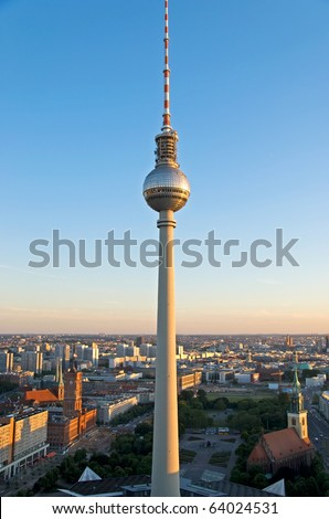 aerial photo of the berlin television tower and city hall - stock photo