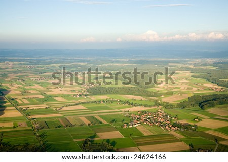 Aerial photograph area on agriculture and village Wengi. - stock photo