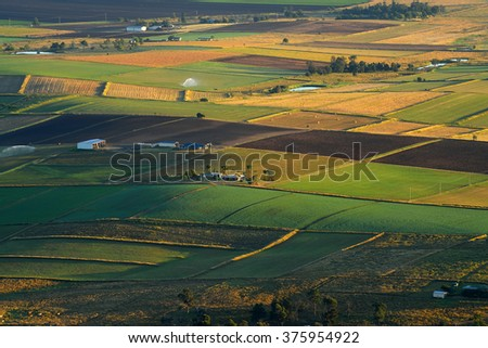 Aerial photograph of farming area view from Mt. French lookout, Queensland