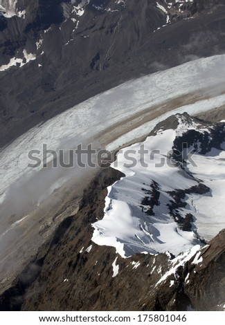 Aerial Photograph of Glacier on way to Denali from Talkeetna Alaska - stock photo