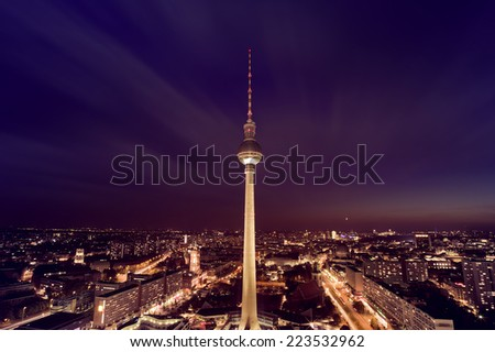 aerial photograph of the TV Tower (Fernsehturm) at night in Berlin, Germany - stock photo