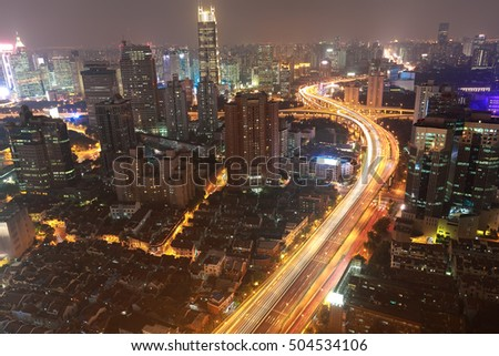 Aerial photography at City buildings backgrounds of night scene in Shanghai