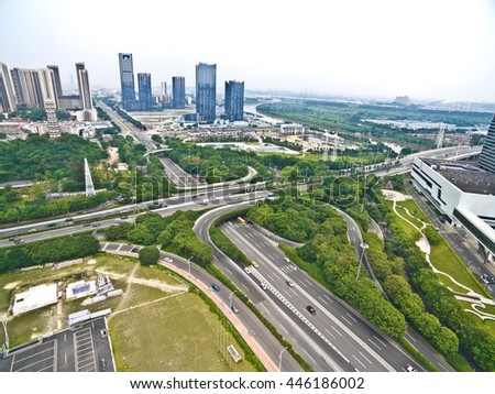 Aerial photography bird-eye view of City viaduct bridge road streetscape landscape  - stock photo