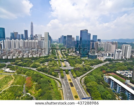 Aerial photography bird-eye view of City viaduct bridge road streetscape with landmarks buildings landscape in Shenzhen China - stock photo