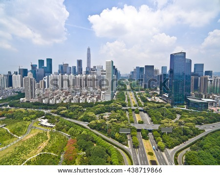 Aerial photography bird-eye view of City viaduct bridge road streetscape with landmarks buildings landscape in Shenzhen China