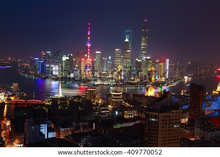 Aerial photography bird view at Shanghai bund Skyline of night scene