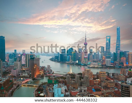 Aerial photography bird view at Shanghai bund Skyline of sunrise - stock photo