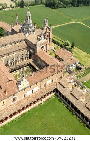 aerial photography of Certosa Pavia