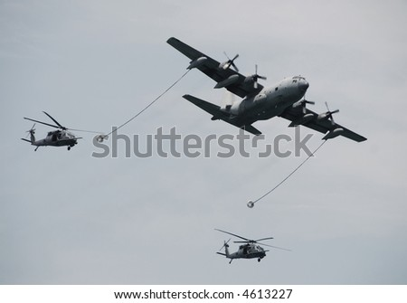 Aerial refueling operation - stock photo