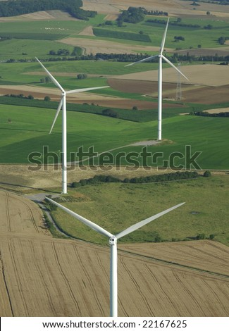 Aerial shoot of a wind farm  in France Europe - stock photo