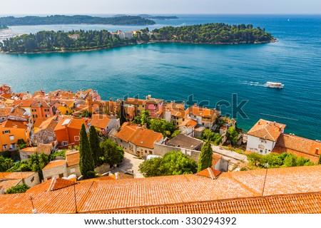 Aerial shoot of Old town Rovinj, Istria, Croatia. - stock photo