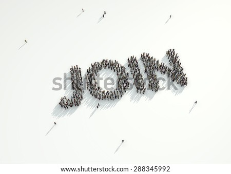 Aerial shot of a crowd of people forming the word 'Follow'. Concept for how people follow each other on social networks and social media channels, websites, chat rooms and news groups.