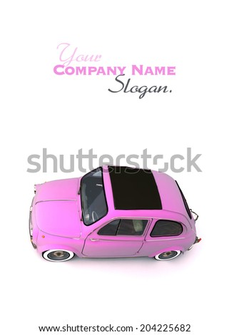 Aerial shot of a soft top pink European vintage car - stock photo