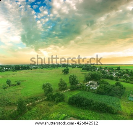 Aerial shot of country side - stock photo