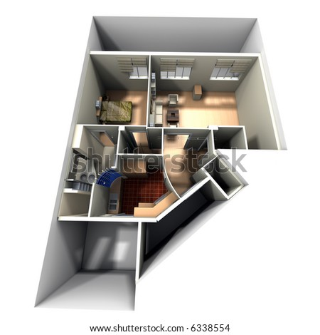 Aerial shot of 3D-rendering of a roofless apartment showing toilets, kitchen, bedroom, and livingroom - stock photo