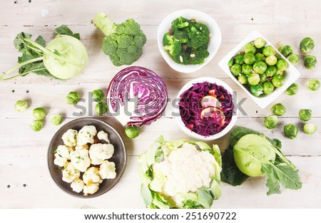 Aerial Shot of Healthy Fresh Farm Ingredients on Top Wooden Table - stock photo