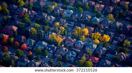 Aerial shot of housing - stock photo