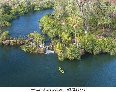 Aerial shot of kayakers in Lawn Hill National Park (Riversleigh Section), Queensland, Australia