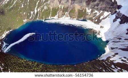 Aerial shot of Kennedy Lake, Glacier National Park, Montana - stock photo