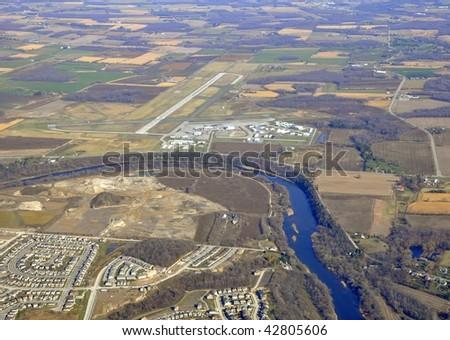 Aerial Shot Kitchener Waterloo Airport Ontario Canada Stock Photo ...