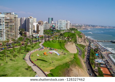 Aerial  shot of Lima city, Peru - stock photo