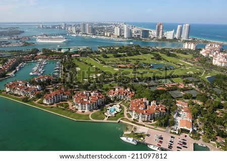 Aerial shot of Miami showing South Beach area, Florida, USA