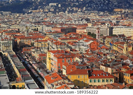 Aerial shot of Nice city at sunny day