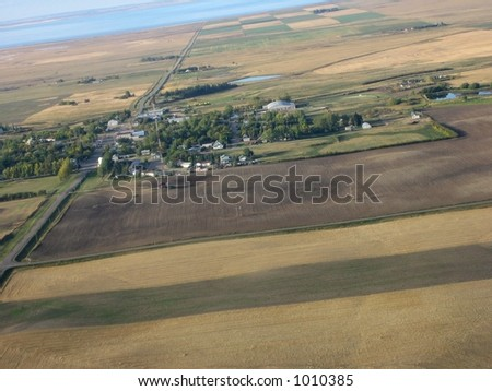 aerial shot of Saskatchewan farmland - stock photo