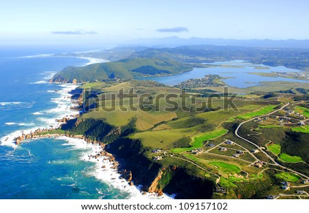 Aerial shot of The Knysna Heads - Western Cape, South Africa - stock photo