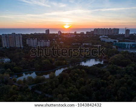 Aerial shot of Victory Park in Odessa at sunsrise. Shot looking towards the the BLack Sea and Arkadia in Autumn