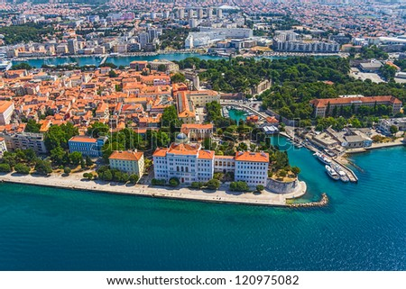 Aerial shot of Zadar old town, famous tourist attraction in Croatia. - stock photo