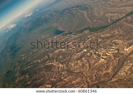 Aerial shots taken on a flight from Dallas to Seattle - stock photo