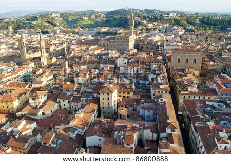AERIAL SIGHT OF FLORENCE AND BELL TOWER OF GIOTTO