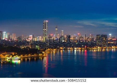 Aerial skyline view of West Lake in Hanoi, Vietnam
